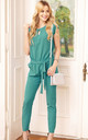 Turquoise Tied Short Sleeve Jumpsuit by Makadamia