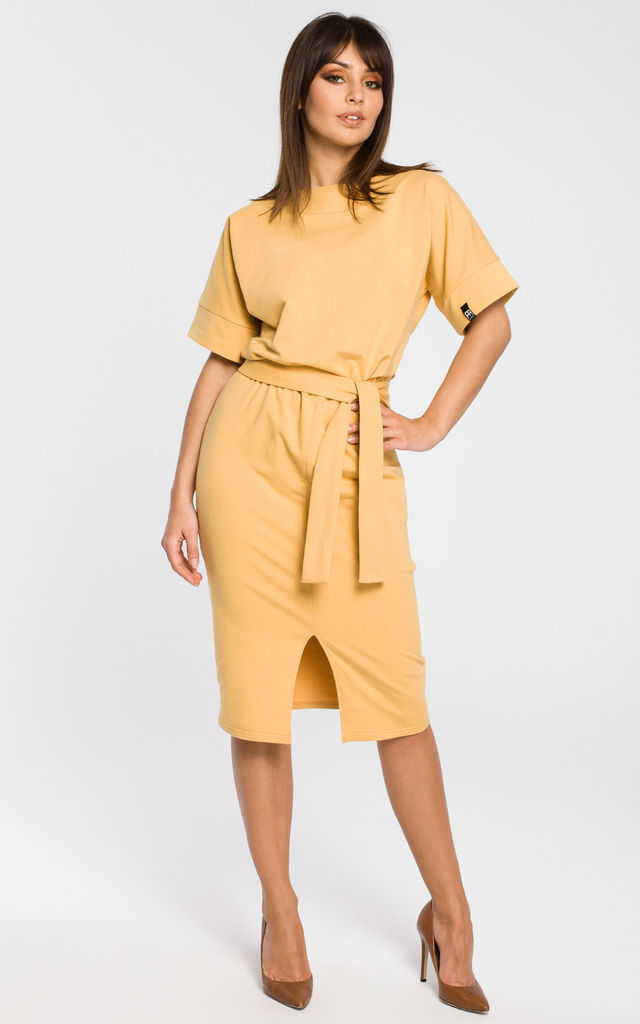 Yellow pencil dress with a front slit by MOE