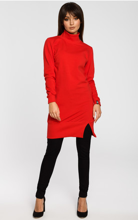 Red tunic top with high ribbed trim neck and split bottom trim by MOE