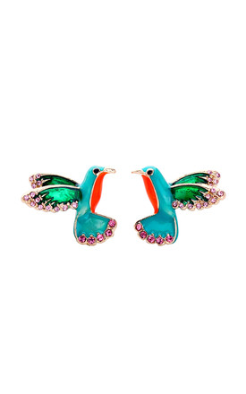 Tropical Bird Earrings In Turquoise & Aqua by LAST TRUE ANGEL Product photo
