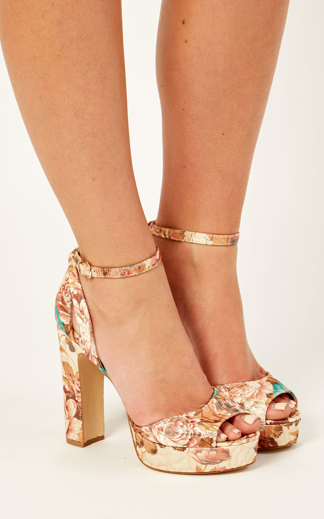 Nude Floral Print Platform Heels by Truffle Collection