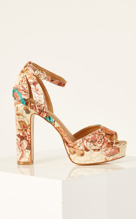 Nude Floral Print Platform Heels by Truffle Collection Product photo