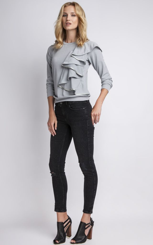 Grey Blouse With Frill by Lanti