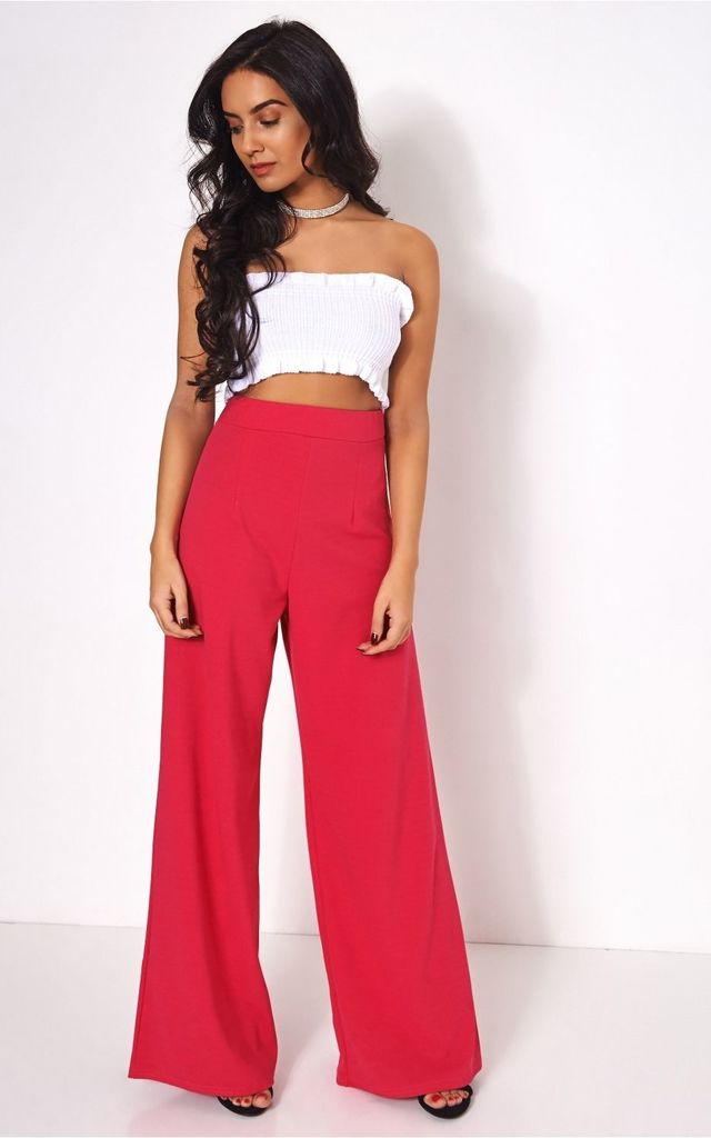 Pink High Waisted Wide Leg Trousers by The Fashion Bible