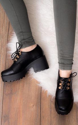 TIGER Lace Up Block Heel Ankle Boots Shoes - Black Leather Style with Eyelets by SpyLoveBuy