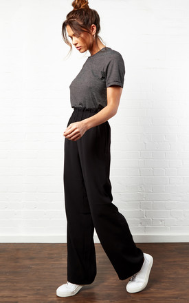 Black High Waist Trousers by Pieces
