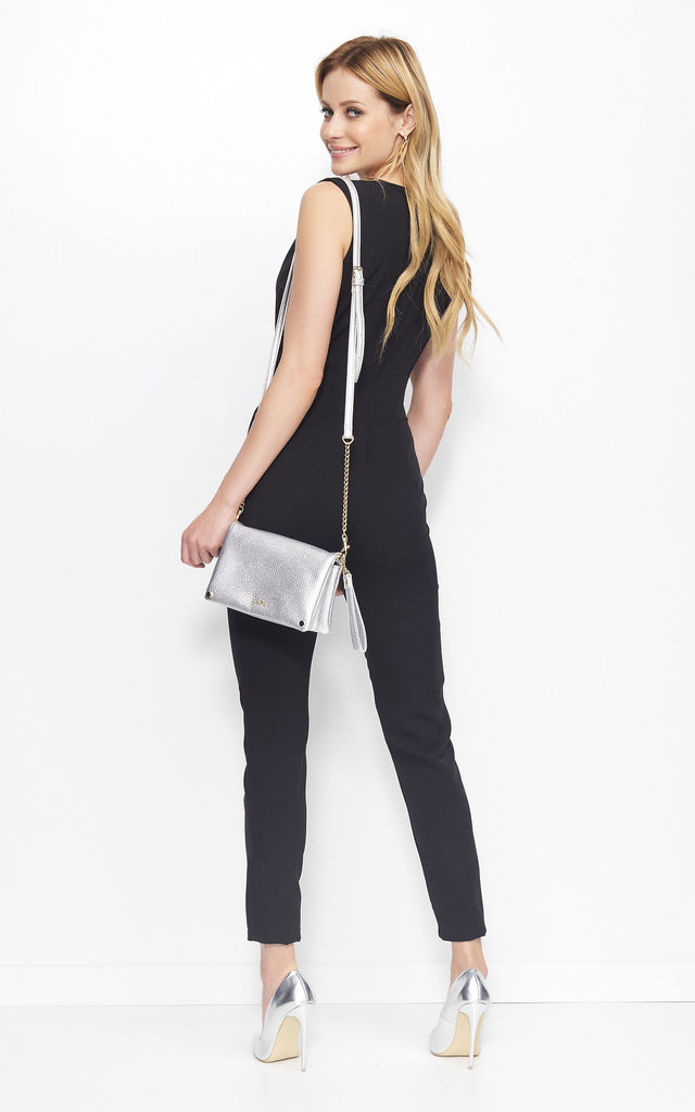 Black V Neck Jumpsuit with Wrap Front by Makadamia