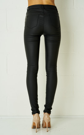 Jacinta Black High Waist Wax Coated Biker Trousers by love frontrow