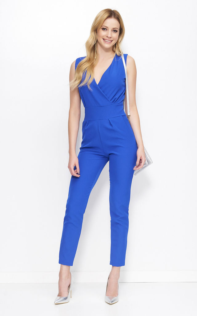 Blue Wrap V neck Jumpsuit by Makadamia