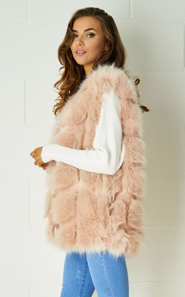 Carmen Realistic Faux Fur Gilet In Nude Pink by Frontrow Limited