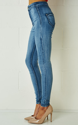Carrisa High Waist Jeggings In Stonewash Blue by Frontrow Limited
