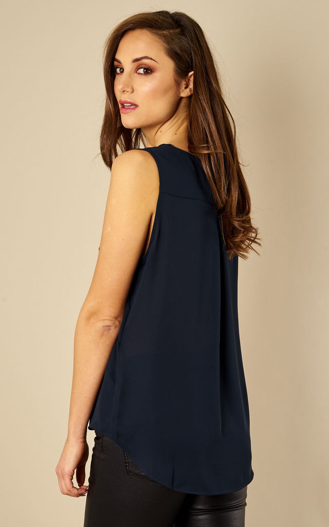 Total Eclipse Sleeveless Collarless Top by VILA