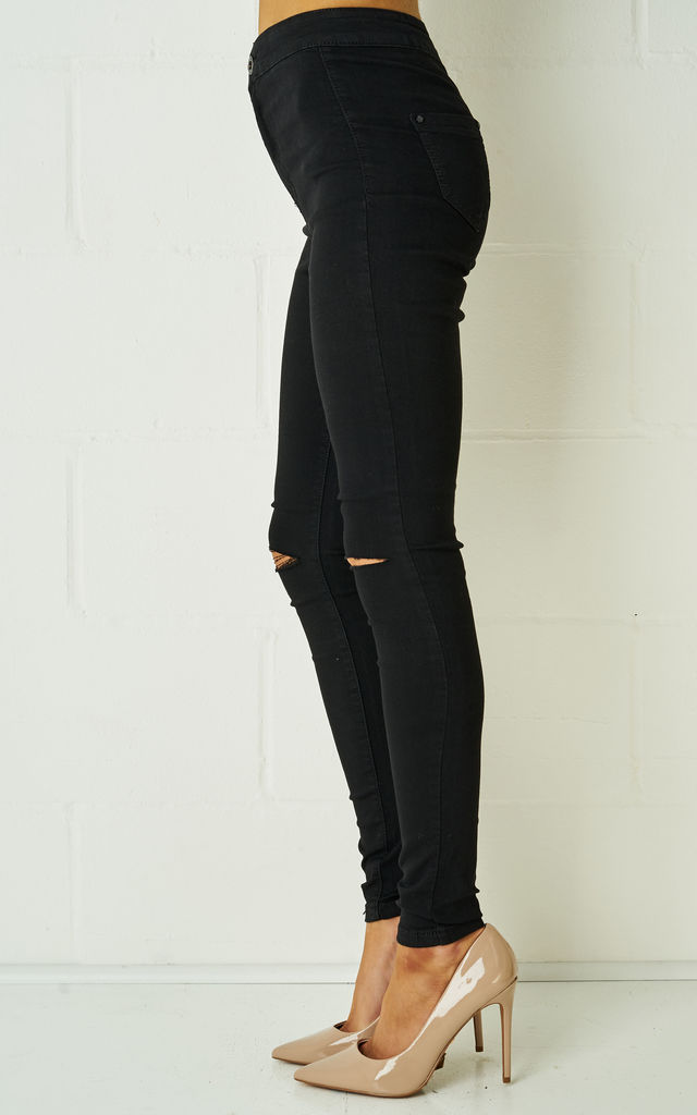 Nikita Black High Waist Skinny Rip Jeggings In Black by Frontrow Limited