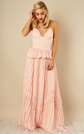 Nude Peplum Pleated Skirt Maxi Dress by True Decadence Product photo