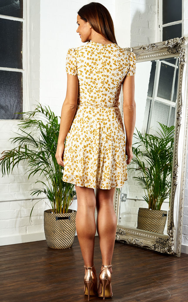 Yellow Orange Flora Short Sleeve Mini Dress With Waist Tie by Glamorous