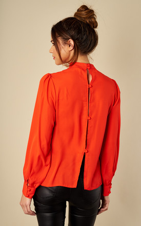 Button Down Back Top Blood Orange by Love