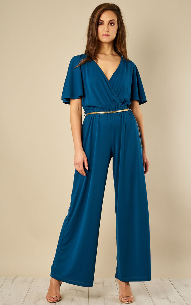 Wide Leg Wrap Over Jumpsuit by Oeuvre