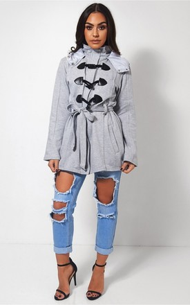 Grey Toggle Duffle Style Coat by The Fashion Bible