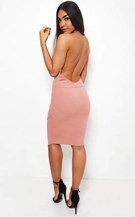 Sian Nude Backless Bodycon Dress by The Fashion Bible