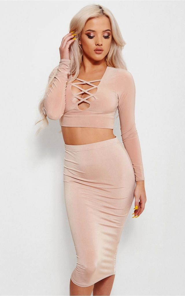 Brini Beige Lace Up Co-ord by The Fashion Bible