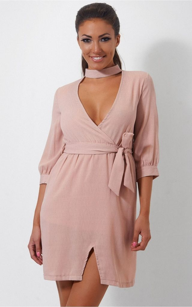 Nude Choker Shift Dress by The Fashion Bible