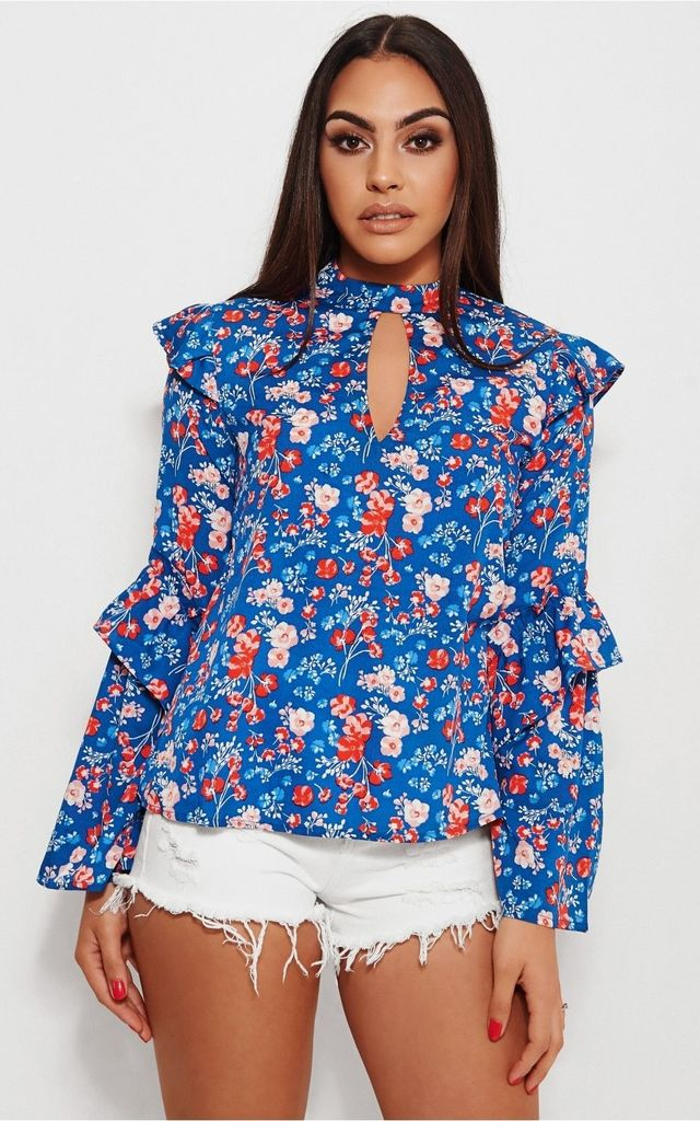Nola Blue Floral Frill Blouse by The Fashion Bible