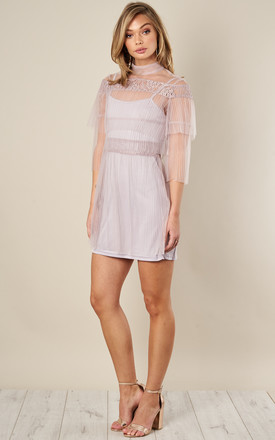 Lilac Off The Shoulder Mesh Ruffle Mini Dress by True Decadence Product photo
