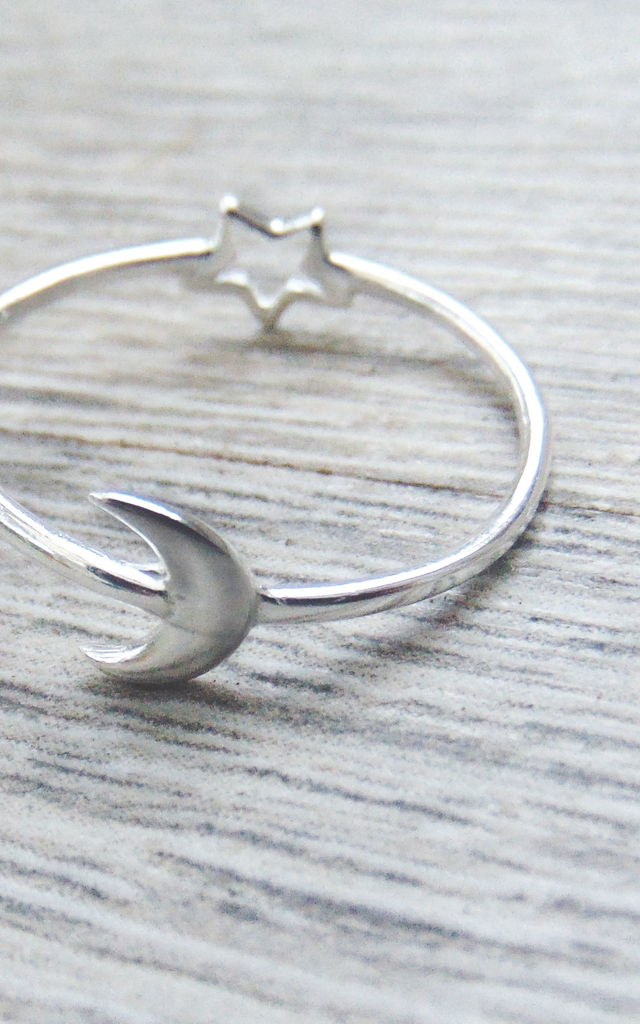 Reversible Star Moon Crescent Isla Sterling Silver Ring by Wanderdusk