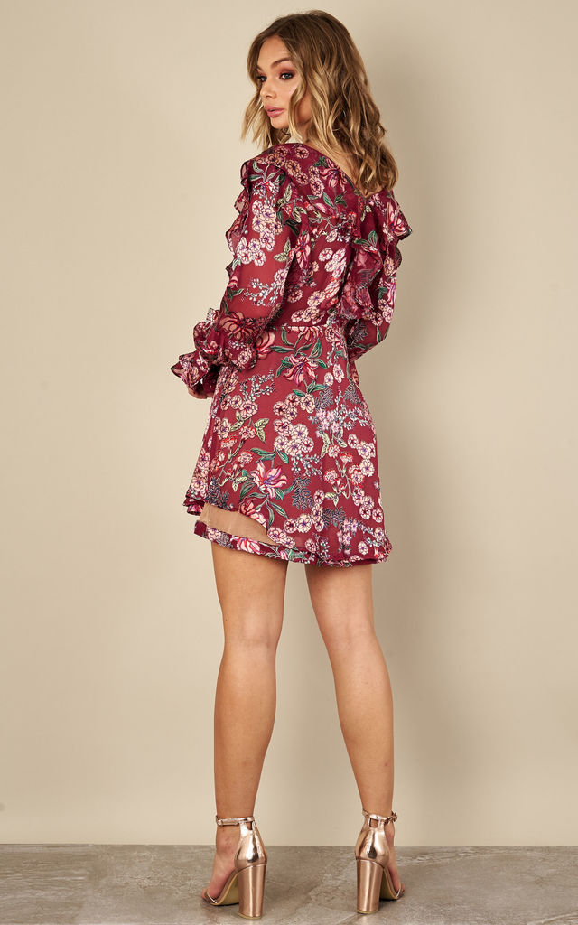 BERRY FLORAL DRAWSTRING MINI DRESS For Love and Lemons by For Love And Lemons