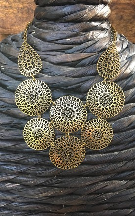 Gold filigree grecian statement necklace by Lovelock jewels