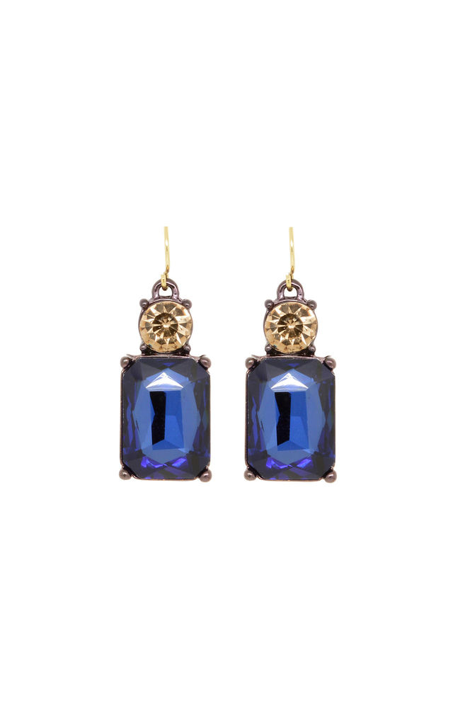 Simple Gem Earring in Navy and Amber by LAST TRUE ANGEL