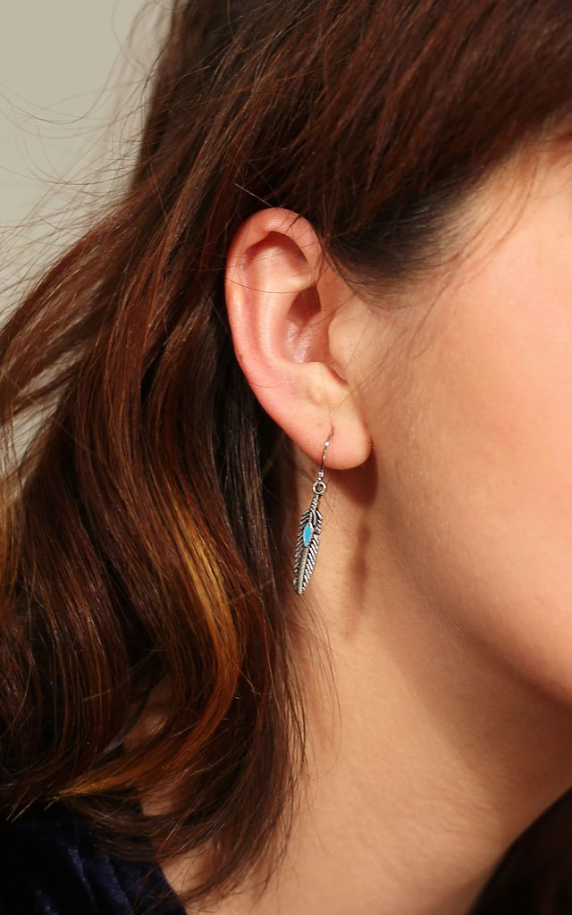 Silver Plated Turuoise Stone & Feather Earrings by Emi Jewellery
