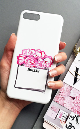 Paper Bags & Peonies Monogram phone case by Rianna Phillips