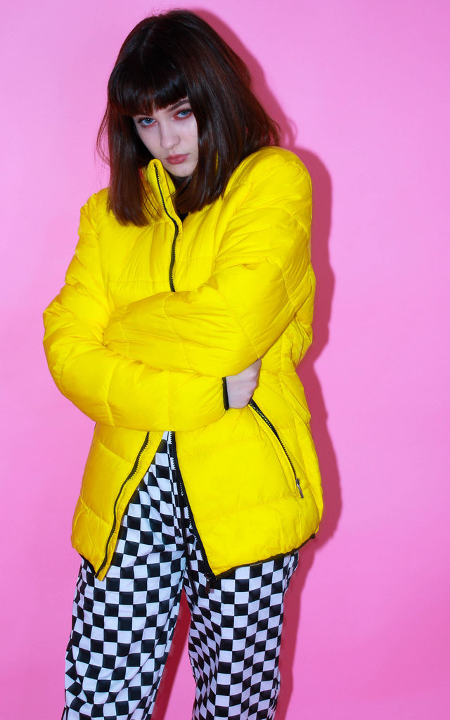 Big Yellow Puffer Jacket Winter Coat Sale Clearance Stand Out Festival Rain by Save The People