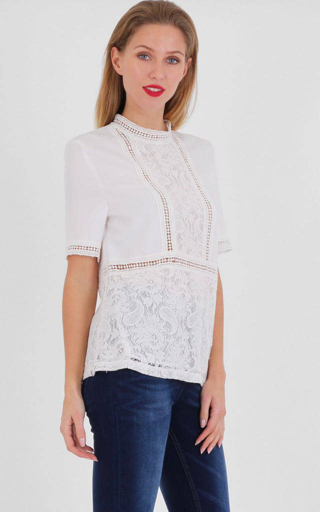 Cream Crew Neck Crochet Lace Short Sleeve Blouse by MISSTRUTH