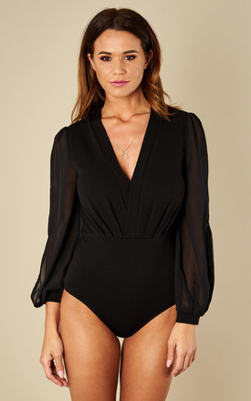 Black Wrap Over Bodysuit With Split Sleeve Detail by Bella and Blue