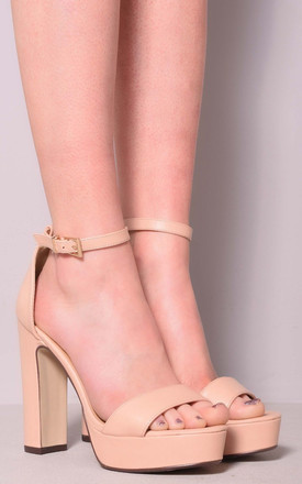 Amira Platform High Chunky Heel Peep Toe Ankle Strap Shoes by Solewish