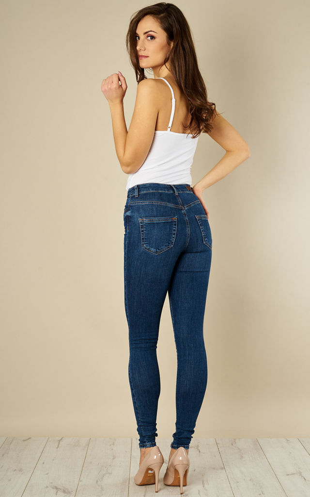 Medium Blue Denim High Waisted Skinny Jeans by Pieces