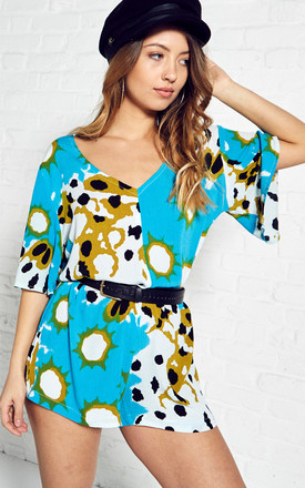 Turquoise printed playsuit by Narlaka