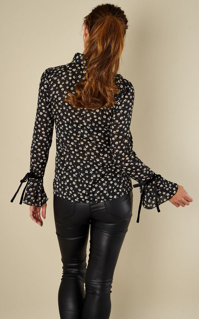 Black Daisy Ditsy Floral Bow Tie Neck Blouse by Glamorous