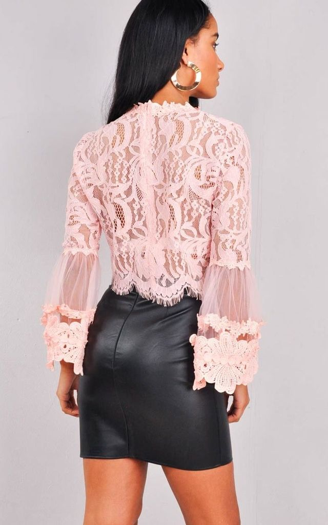Patterned Lace Flute Sleeve Crop Top Pink by LILY LULU FASHION
