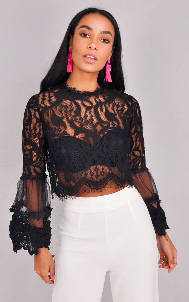 Patterned Lace Flute Sleeve Crop Top Black by LILY LULU FASHION
