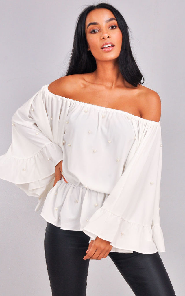 b35988c251fe7c ... Pearl Embellished Off The Shoulder Bell Sleeve Peplum Shirt Top White  by LILY LULU FASHION ...