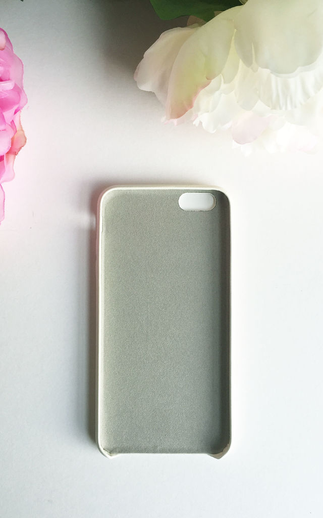 Ivory white PU leather embossed phone case by Rianna Phillips