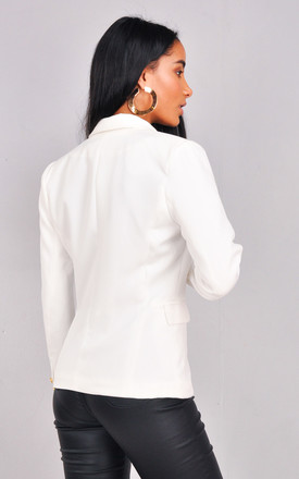 Military Style Tailored Button Blazer Jacket White by LILY LULU FASHION