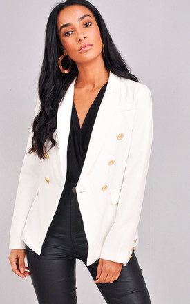 Military Style Tailored Button Blazer Jacket White by LILY LULU FASHION Product photo
