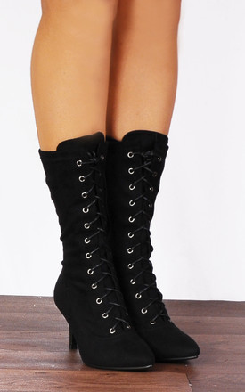 Black Lace Ups Sock Stretch Kitten Heel Ankle Boots by Shoe Closet