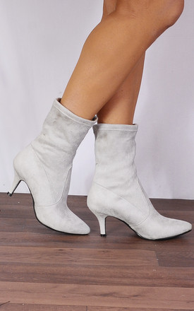 Light Grey Sock Stretch Kitten Heel Ankle Boots by Shoe Closet