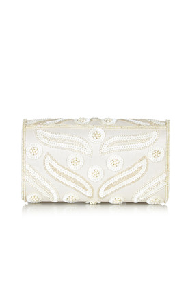 Vegas Vintage Inspired Hand Embellished Clutch Bag in Cream by Gatsbylady London