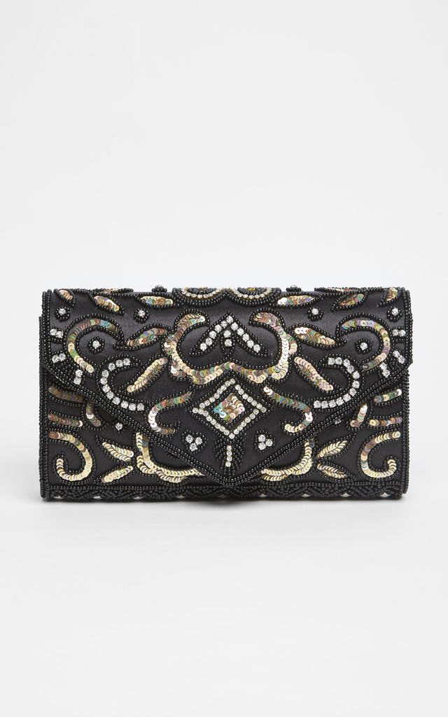 Elsa Vintage Inspired Hand Embellished Clutch Bag in Black Gold by Gatsbylady London